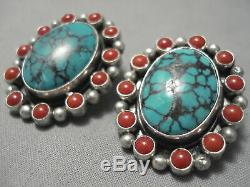 Amazing Vintage Navajo Domed Spiderweb Turquoise Coral Sterling Silver Earrings