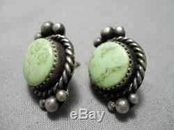 Amazing Vintage Navajo Gaspeite Sterling Silver Native American Earrings Old