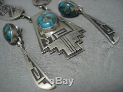 Amazing Vintage Navajo Sterling Silver Rug Turquoise Necklace Earrings Set