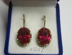 Amazing Vintage Soviet Earrings Sterling Silver 875 Ruby Stone Antique USSR