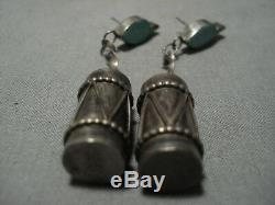 Amazing Vintage Zuni Sterling Silver Native American Turquoise Earrings