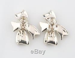 Angela Cummings Silver Bow Ribbon Earrings Sterling 1984 Omega Back Vintage