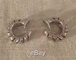 Angela Cummings Vintage Sterling Silver Wave Hoop Earrings