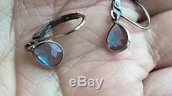 Antique 1800's Un-Foiled Real Drop SAPHIRET Vintage Sterling Dangle Earrings