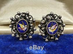 Antique Dove Bird Micro Mosaic Earrings in Sterling Silver, Italy