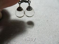 Antique Edwardian/Art Deco 925 Sterling Pool of Lights Orb Leverback Earrings