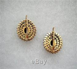 Antique Gilded Sterling Silver Czech Bohemian Rose Cut Garnet Cluster Earrings