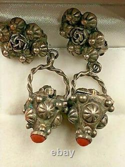 Antique Italian Coral Sterling Silver 800 Etruscan Dangle Flowers Clip Earrings