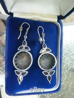 Antique Rare Enamel Bohemian Garnet Victorian Earrings Sterling Pierced 2 1/2