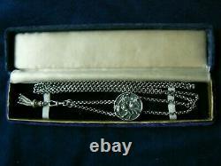 Antique Rare Large Art Nouveau Sterling Slide Watch Chain WithTassel 35