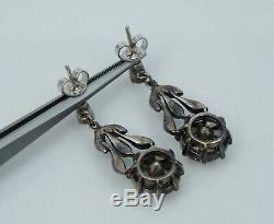 Antique Sterling 14K Large Paste Dangle Drop Earrings Vintage Silver