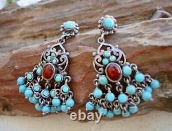 Antique VICTORIAN 925 Sterling Silver TURQUOISE & CARNELIAN Dangle Earrings