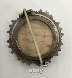 Antique Victorian Cut Steel & Sterling Silver Brooch & Pierced Earrings Set