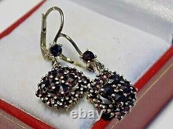 Antique Victorian Early 1900s Old Bohemian Cut Garnet Sterling Silver Earrings
