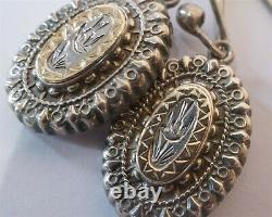 Antique Victorian English Asthetic Movement Sterling Silver Gold Bird Earrings