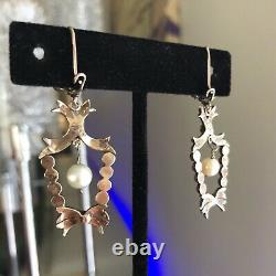 Antique Victorian Lavalier Necklace Earrings Sterling Silver 14K Marcasite Pearl