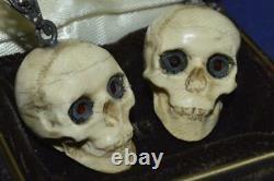 Antique Victorian Memento Mori Skull Sterling Silver Bohemian Garnet Pyrope 22gr