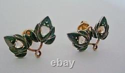 Antique Victorian Rose Cut Diamond Pierced Earrings 14k Yellow Gold & Sterling