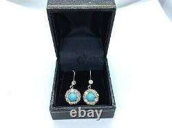 Antique Victorian Sterling Silver Diamond Paste Turquoise Glass Dangle Earrings