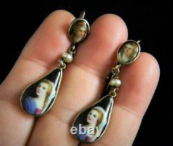 Antique Victorian Sterling Silver Handpainted Portrait Drop Earrings (K54)