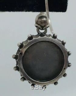 Antique Victorian Sterling Silver Ornate Round Dangle Earrings