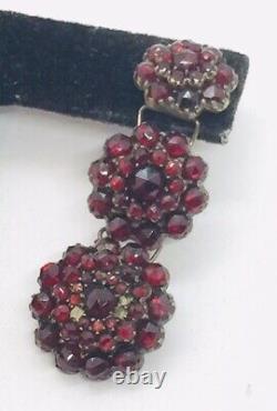 Antique Victorian Sterling Silver Red Garnet Dangle Earrings