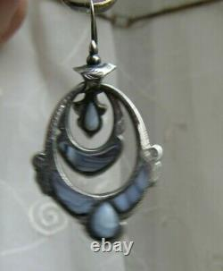 Antique Victorian Sterling Silver Scottish Agate Montrose stone earring