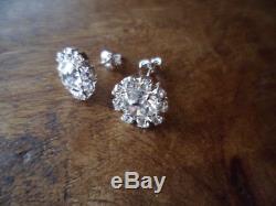 Antique Victorian Vintage Sterling Silver Earrings Paste Diamonds old Ear Rings