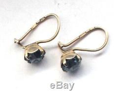 Antique Vintage 875 Sterling Silver Earrings Drop Russian Aquamarine Blue Rare