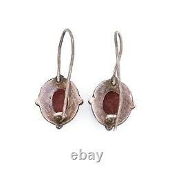 Antique Vintage Art Deco 925 Sterling Silver Etruscan Rose Quartz Drop Earrings