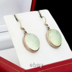 Antique Vintage Art Deco 925 Sterling Silver Green Tourmaline Huge Drop Earrings