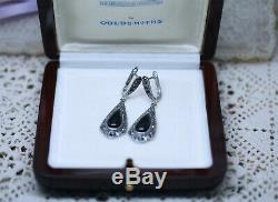 Antique Vintage Art Deco Onyx And Marcasite Sterling Silver Earrings Ear Rings