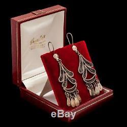 Antique Vintage Art Deco Sterling Silver Egyptian Filigree 3 L Dangle Earrings