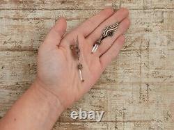 Antique Vintage Art Deco Sterling Silver Etruscan Wing Amethyst Earrings 6.4g