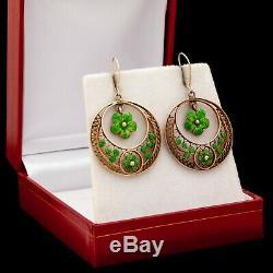 Antique Vintage Art Deco Sterling Silver Floral Filigree Green Enamel Earrings