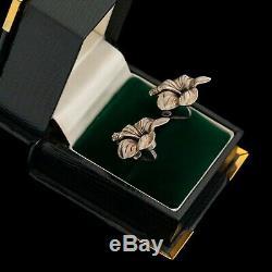 Antique Vintage Art Deco Sterling Silver Hibiscus Flower Floral Cluster Earrings