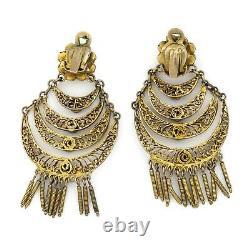 Antique Vintage Art Nouveau 600 Sterling Silver Gold Wash Turquoise Earrings 20g