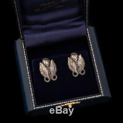 Antique Vintage Art Nouveau Sterling Silver Cast Georg Jensen Style Earrings