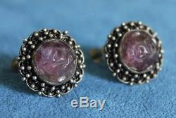 Antique Vintage Chinese Export Sterling Silver Carved LOTUS Amethyst Earrings