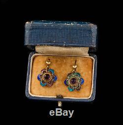 Antique Vintage Deco 14K Gold Sterling Silver Chinese Amethyst Enamel Earrings