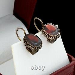 Antique Vintage Deco 925 Sterling Silver Bohemian Garnet Geometric Drop Earrings