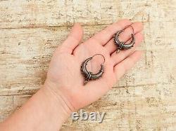 Antique Vintage Deco 925 Sterling Silver Byzantine Bali Repousse Hoop Earrings