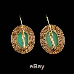 Antique Vintage Deco Gold Sterling Silver Chinese Turquoise Domed Drop Earrings