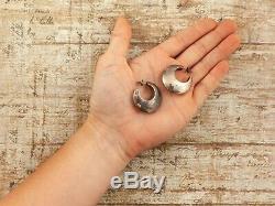 Antique Vintage Deco Mid Century Sterling Silver Modernist HUGE Hoop Earrings