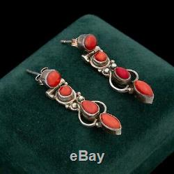Antique Vintage Deco Mid Century Style Sterling Silver Red Coral Earrings 6.3g