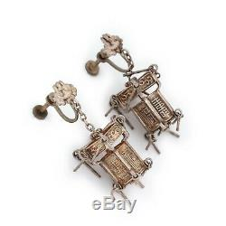 Antique Vintage Deco Sterling 925 Silver Chinese Lantern Drop Dangle Earrings