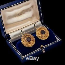 Antique Vintage Deco Sterling Silver Gold Etruscan Garnet Disk Dangle Earrings