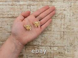 Antique Vintage Deco Sterling Silver Gold German NONNENMANN Butterfly Earrings