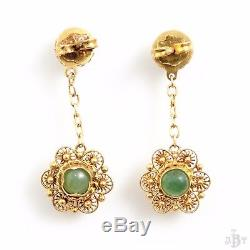 Antique Vintage Deco Sterling Silver Gold Wash Chinese Aventurine Drop Earrings