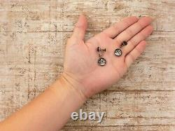 Antique Vintage Deco Sterling Silver Japanese AMITA Onyx Damascene Earrings 4.6g